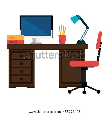 office work place isolated icon design, vector illustration  graphic