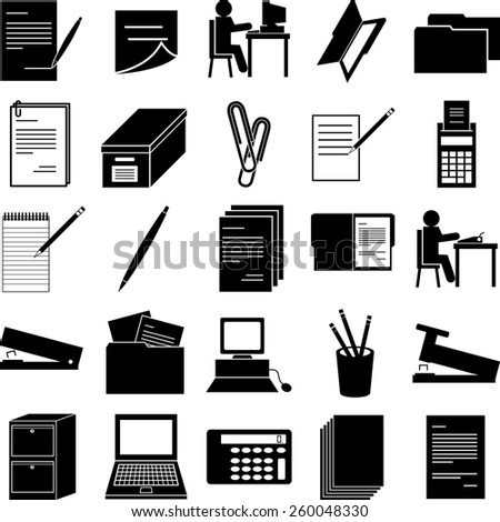 office work symbols set - stock vector