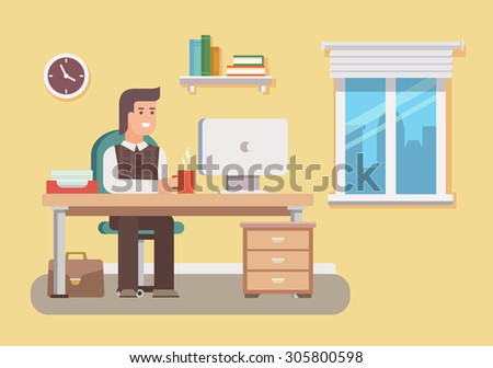 Office worker. Business work, desk and workplace, employee man, businessman, workflow and workspace. Flat vector illustration - stock vector