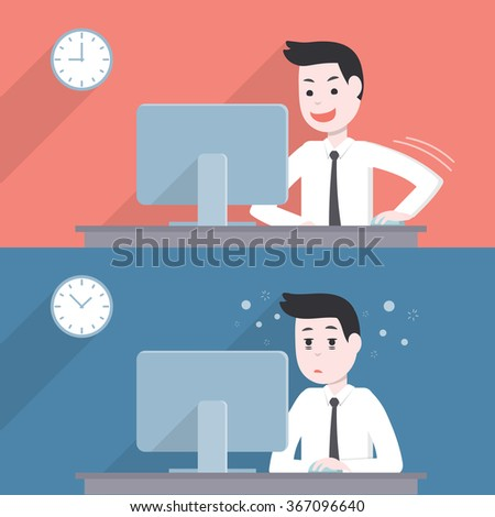 Office worker businessman activity,happy and get tired,sleepy when while working with his computer  - stock vector