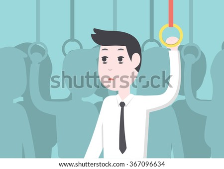 Office worker businessman get tried and bordon on public transport - stock vector
