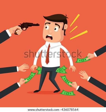 Office worker get robbery. Hands steal money. Vector flat cartoon illustration - stock vector