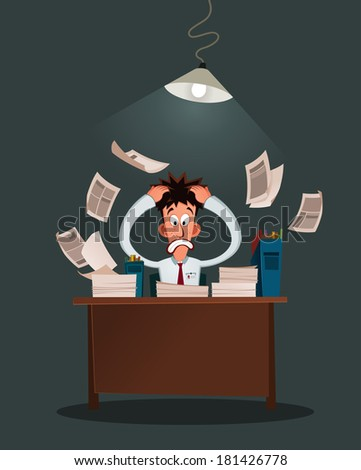 office worker get stressed because of his work - stock vector