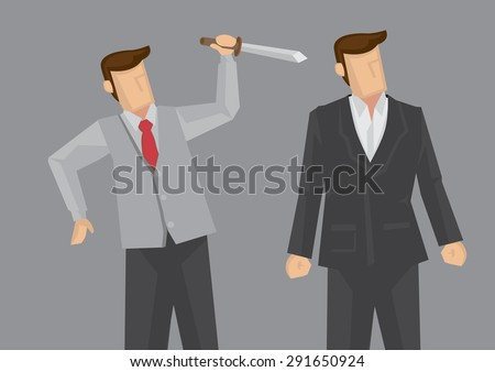 Office worker holding a knife behind another business executive. Creative vector illustration for backstabbing metaphor and office politics concept isolated on grey background.  - stock vector