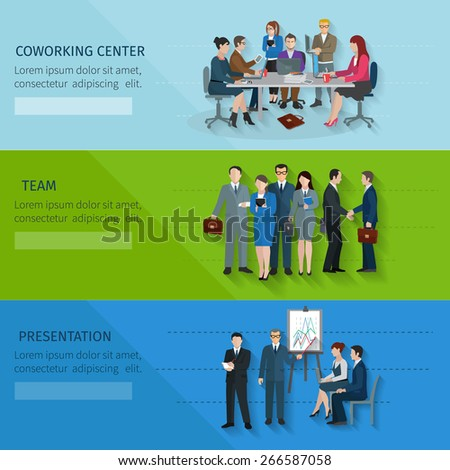 Office worker horizontal banner set with coworking center team presentation elements isolated vector illustration - stock vector