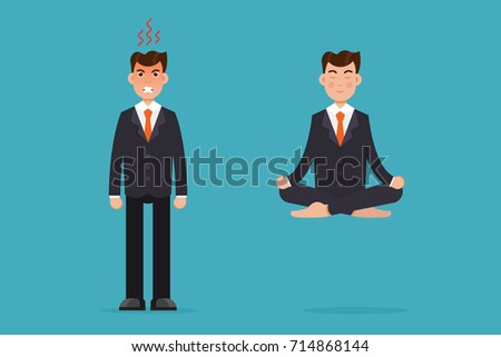 meditation businessman office. office worker meditating sitting in lotus pose calm and angry businessman meditation concept