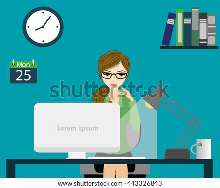 Office worker or business woman working On Computer.Cartoon  stock vector illustration