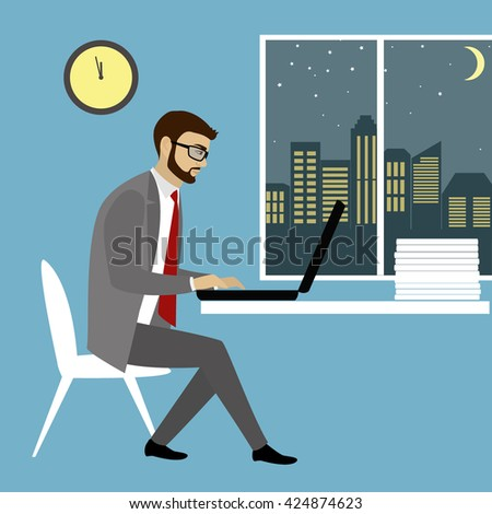 Office worker  or businessman Working On laptop Computer.Night work.Cartoon vector illustration