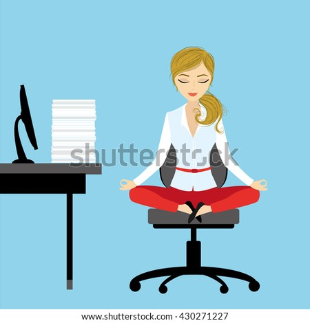 Office worker relaxes and meditates in the lotus position on the job, vector illustration