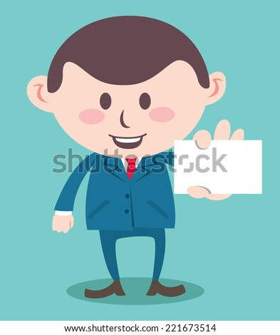 office worker showing business card - stock vector
