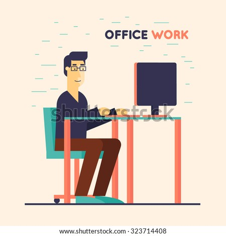 Office worker sitting at the table and working on the computer. Flat design vector illustration.  - stock vector