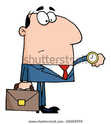 Office Worker Watching The Clock - stock vector