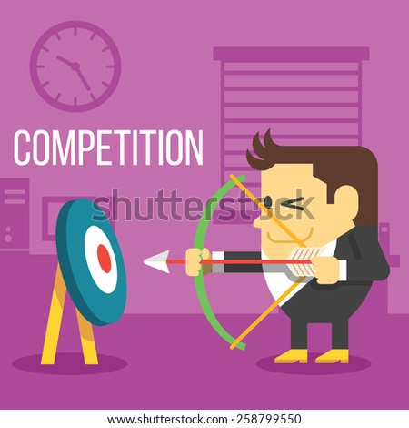 Office worker with bow shooting at target. Business competition concept. Creative office background. Flat style design vector illustration. - stock vector