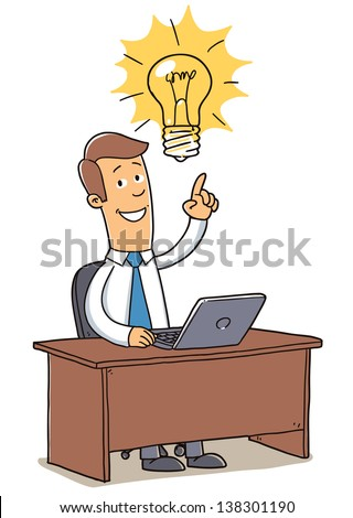 office worker with idea bulb. cartoon illustration isolated on white background - stock vector