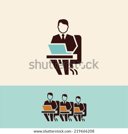 Office worker. Working on computer. - stock vector