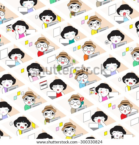 Office Workers And Their Individual Cubicles Working Space character illustration - stock vector