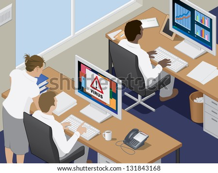 Office workers at their computer workstations. - stock vector