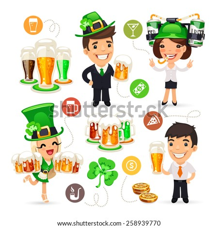 Office Workers on the Patrick's Day Party. Isolated on White Background. - stock vector