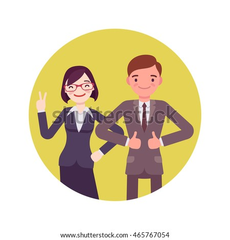Office workers standing and smiling. Man and woman in a formal wear. Cartoon vector flat-style business concept illustration