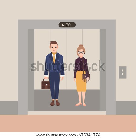 people in elevator clipart. office workers standing in open elevator. business people man and woman. flat cartoon vector elevator clipart