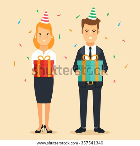 Office Workers with Gift Boxes. Corporate Party. Flat Vector Characters - stock vector
