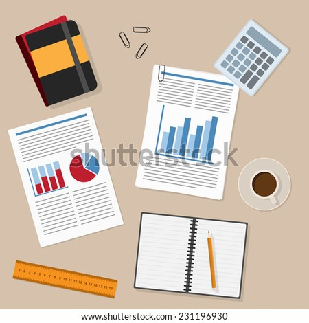 office working place and business working elements - paper, pencil, ruler, report, tea/coffee cup, documents, notepad and etc. - stock vector