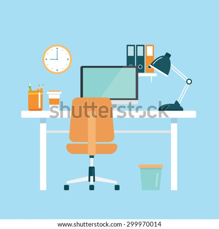 office workplace flat design - stock vector