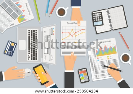 Office workplace. Hands holding mobile, pen, report and other items. Flat design illustration - stock vector