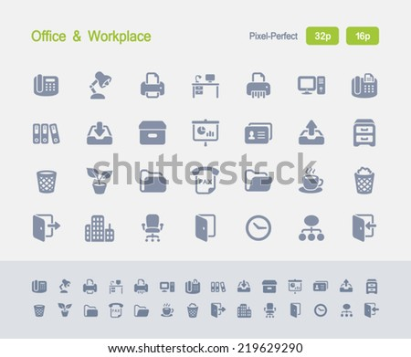 Office & Workplace Icons. Granite Icon Series. Simple glyph style icons optimized for two sizes. - stock vector