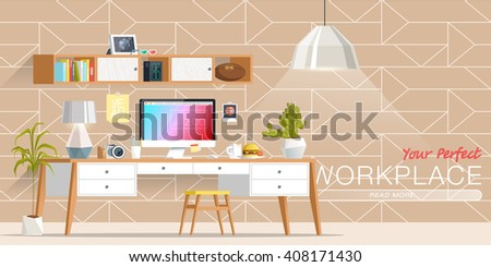 Office Workplace Interior Design Flat Concept Stock Vector