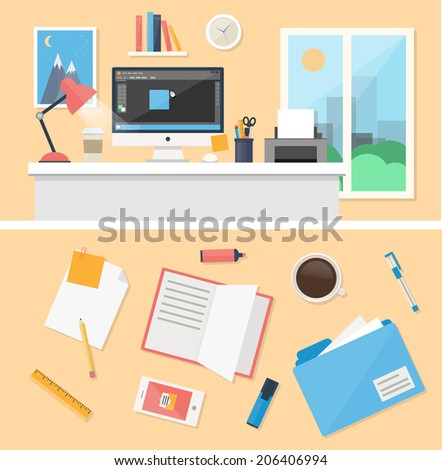 Office, workspace and workplace concepts for web, management, infographic, development, design. Flat design style modern vector illustration. - stock vector