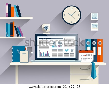 Office workstation with notebook web camera and stationery flat vector illustration - stock vector