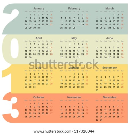 Office 2013 year calendar with colorful design background - stock vector