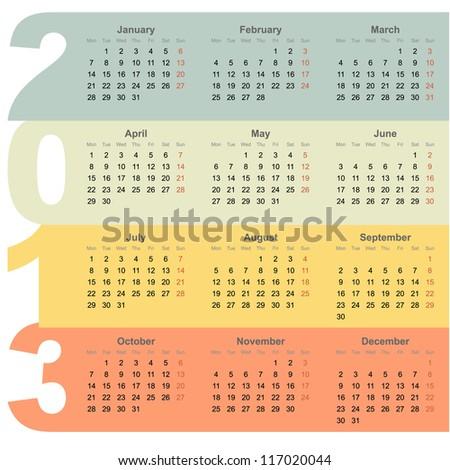 Year Calendar Stock Vectors, Images & Vector Art | Shutterstock