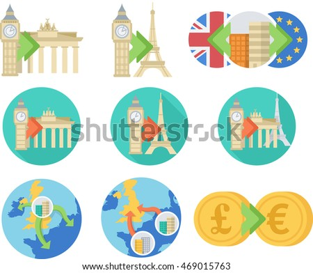 Offices moving in or out of the United Kingdom after Brexit. Vector flat icons for the post-Brexit era.