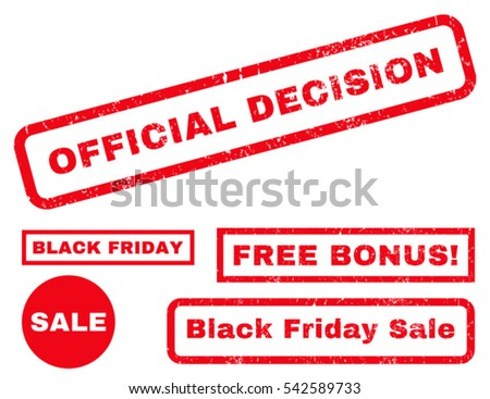 Official Decision rubber seal stamp watermark with additional design elements for Black Friday sales. Vector red signs. Text inside rectangular shape with grunge design and dust texture.