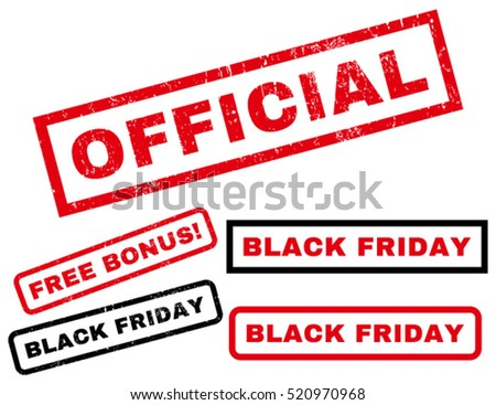 Official rubber seal stamp watermark with additional images for Black Friday offers. Text inside rectangular shape with grunge design and dust texture. Vector red and black signs.