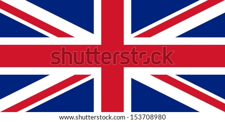 Official UK flag of the United Kingdom aka Union Jack - Proportions: 2:1 - Colours: Blue 280 C, Red 186 C, White Safe  - stock vector