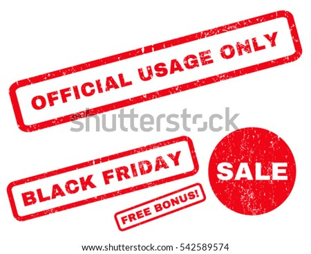 Official USAge Only rubber seal stamp watermark with additional images for Black Friday offers. Vector red signs. Text inside rectangular shape with grunge design and scratched texture.