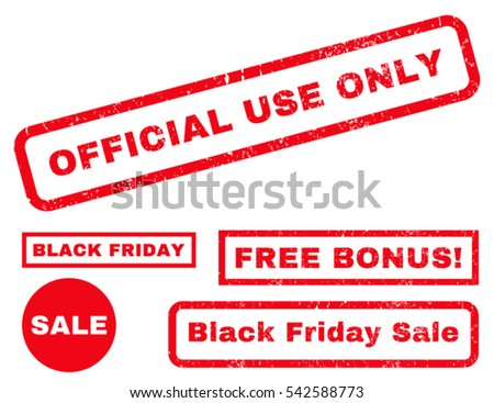 Official Use Only rubber seal stamp watermark with additional images for Black Friday sales. Vector red emblems. Tag inside rectangular shape with grunge design and dirty texture.