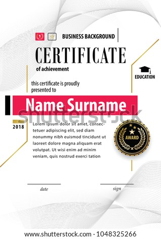 Official white certificate appreciation award template stock photo official white certificate of appreciation award template with black badge wafer guilloshe elements yelopaper Images
