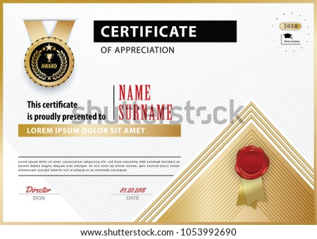 Official white certificate appreciation award template stock vector official white certificate of appreciation award template with gold shapes and black badge yelopaper Images