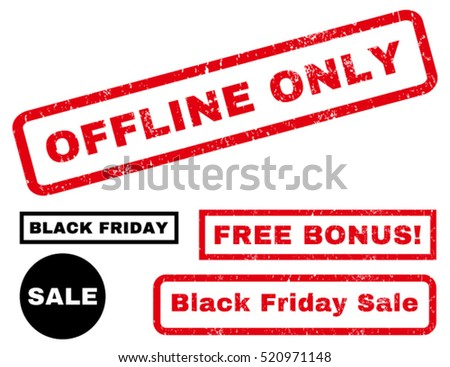 Offline Only rubber seal stamp watermark with additional images for Black Friday offers. Tag inside rectangular banner with grunge design and unclean texture. Vector red and black stickers.