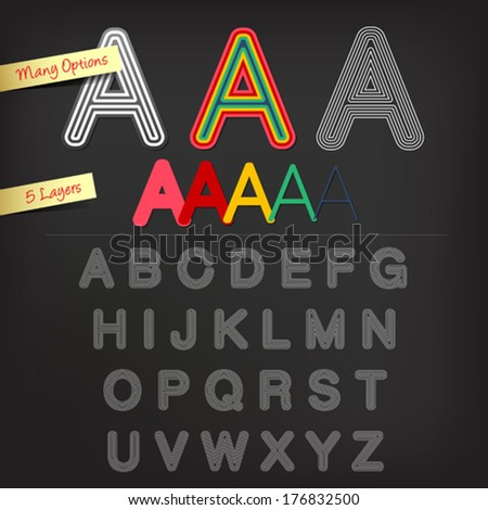 Offset alphabet with five layers - stock vector