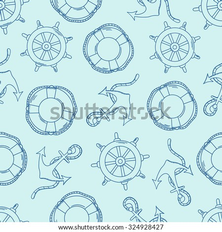 Offshore hand drawn seamless pattern seaman. Doodle marine background vector. Sketch objects - steering wheels, buoys and anchors