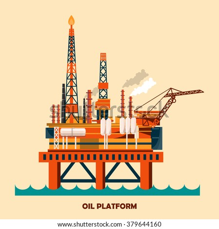 Offshore oil platform design concept set with petroleum. Helipad, cranes, derrick, hull column, lifeboat, workshop, manifold, gas lift module. Vector illustration