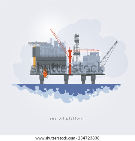 Offshore oil platform. Helipad, cranes, derrick, hull column , lifeboat , workshop, manifold, gas lift module, vector illustration - stock vector