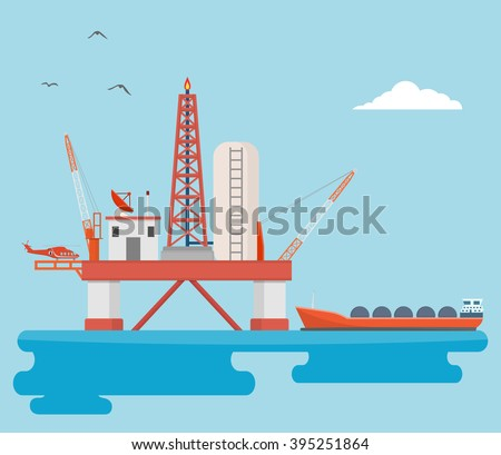 Offshore oil rig - stock vector