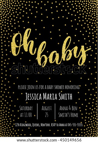 Oh baby gold baby shower invitation stock photo photo vector gold baby shower invitation card template classic white calligraphy vector lettering stopboris Image collections