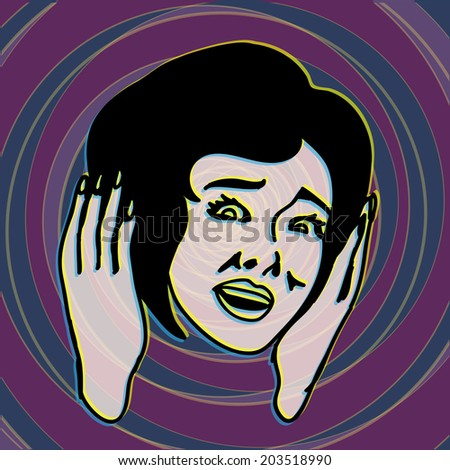 Oh my God! Retro and Vintage Frightened and Scared Girl Screaming with Terror - stock vector